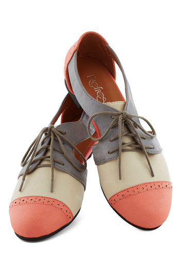 Cutout and About Town Flat in Coral - Coral, Tan / Cream, Grey, Cutout, Menswear Inspired, Colorblocking, Flat, Lace Up, Faux Leather, Statement