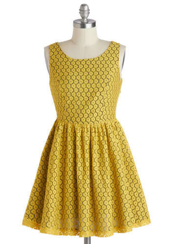 For Gold Time's Sake Dress - Yellow, Cutout, Cotton, Short, Solid, Casual, A-line, Sleeveless, Scoop, Buttons, Daytime Party, Summer