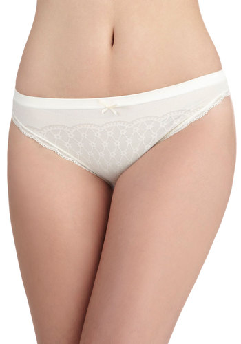 Weekday Delightful Undies in Lily - Cream, Solid, Bows, Lace, Trim, Seamless, Sheer, Variation, White