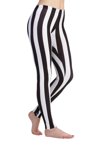 Fresh Take Leggings in Stripes - White, Stripes, Vintage Inspired, 80s, Skinny, Black, 90s, Variation, Urban, Knit