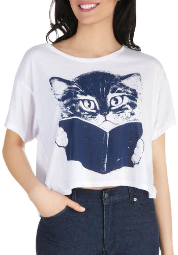 Come Tome Me Top - Short, White, Blue, Print with Animals, Casual, Short Sleeves, Cats