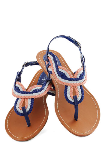 At The Amusement Park Sandal in Evening - Multi, Braided, Beach/Resort, Summer, Low, Faux Leather, Blue, Pink, White, Casual, Colorblocking, Variation