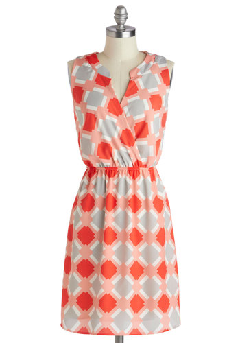 Airport Perusing Dress - Casual, Coral, Grey, White, Print, Shift, Sleeveless, Work, Summer, V Neck, Mid-length