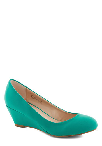 Walking on Flair Wedge in Sea Green - Green, Solid, Work, Mid, Wedge, Minimal, Variation, Basic