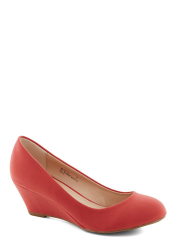 Walking on Flair Wedge in Coral - Coral, Solid, Work, Mid, Wedge, Minimal, Variation, Basic