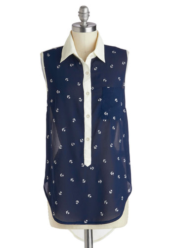 Sea Through Top - Blue, White, Novelty Print, Buttons, Work, Daytime Party, Nautical, Sleeveless, Collared, Mid-length, Sheer, Pockets, Casual, Button Down, Spring, Summer