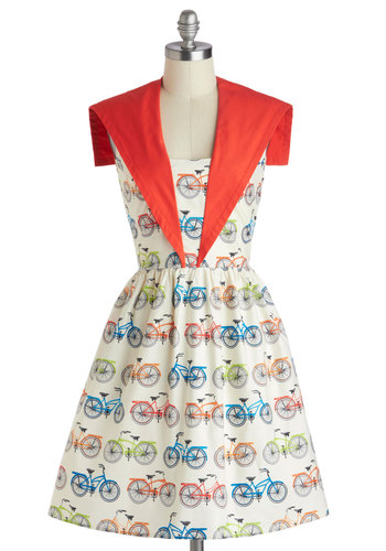 Spoke and Word Dress - Cotton, Novelty Print, Pockets, Party, Fit & Flare, Sleeveless, Multi, Orange, White, Daytime Party, Vintage Inspired, 50s, Summer, Mid-length, Exclusives
