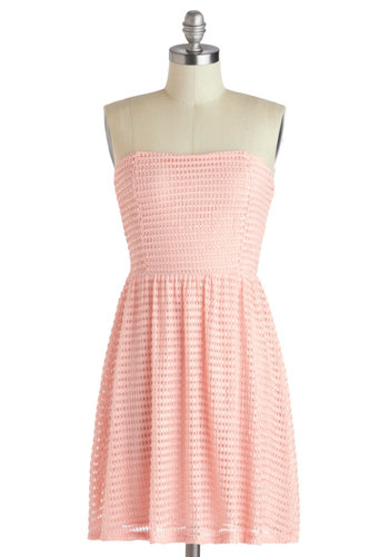 Archi-texture Presentation Dress - Short, Pink, Solid, Casual, A-line, Strapless, Sweetheart, Daytime Party, Pastel, Spring, Summer