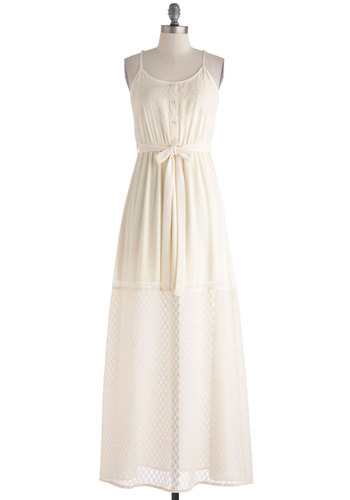 Vanilla We Meet Again Dress - Cream, Solid, Buttons, Embroidery, Belted, Casual, Maxi, Spaghetti Straps, Scoop, Beach/Resort, Summer, Long