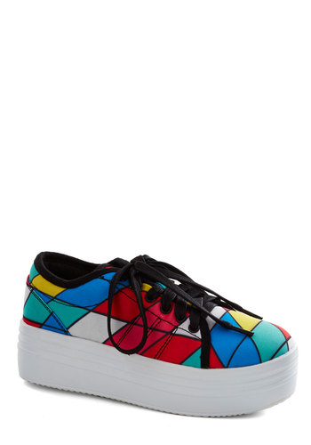 Rainbow Menagerie Flatform - Multi, White, Print, Wedge, Mid, Casual, Vintage Inspired, 90s, Statement, Quirky
