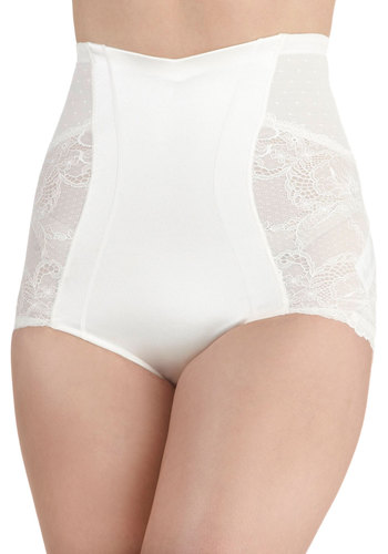 A Lovely Beginning Contouring Undies in Pearl by Scandale - White, Solid, Lace, Pinup, Vintage Inspired, 40s, 50s, High Waist, Sheer, Wedding, Bride, Variation, International Designer