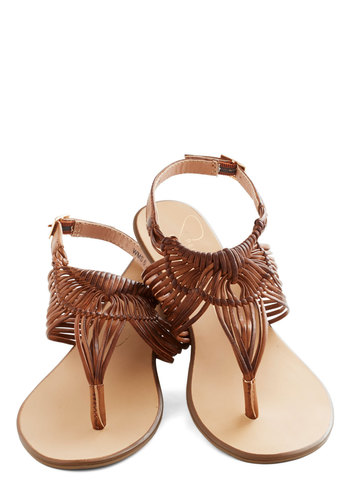 Prairie Grass Sandal in Brown - Flat, Faux Leather, Brown, Solid, Woven, Casual, Beach/Resort, Boho, Summer, Strappy, Variation, Basic