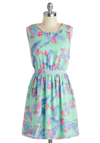 Tropical Tea Dress - Mint, Multi, Floral, Casual, A-line, Sleeveless, Crew, Daytime Party, Beach/Resort, Pastel, Spring, Summer, Short
