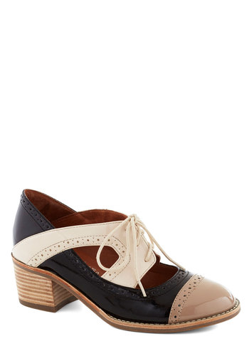 House Concert Hostess Heel in Multi by Jeffrey Campbell - Cream, Black, Grey, Solid, Cutout, Menswear Inspired, Chunky heel, Mid, Leather, Vintage Inspired