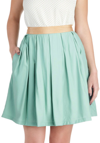 Peaceful Panache Skirt - Blue, Casual, Mid-length, Solid, Pleats, Pockets, Pastel, Spring, Ballerina / Tutu, Blue