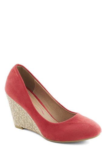 Let's Do Lace Wedge - Coral, Solid, Wedge, Mid, Faux Leather, Work, Casual