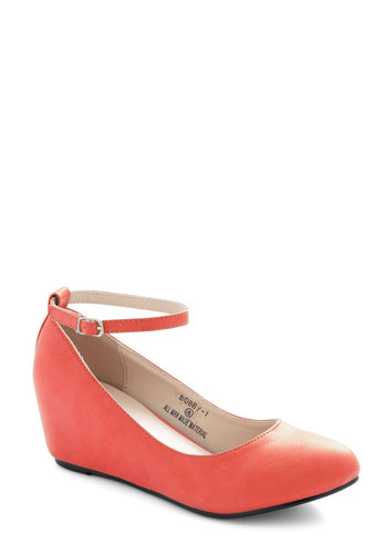 Take a Stride With Me Wedge in Coral - Coral, Solid, Work, Mid, Wedge, Variation