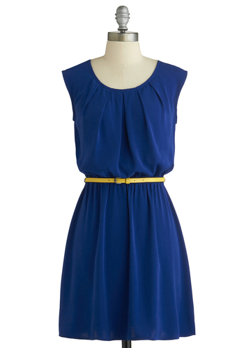 Colored in Cobalt Dress - Blue, Solid, Belted, Casual, A-line, Sleeveless, Scoop, Minimal, Mid-length