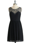 Well I'll Be Dazzled Dress - Sheer, Mid-length, Black, Solid, Cutout, Lace, Party, A-line, Sleeveless, Scoop, Cocktail, Exclusives