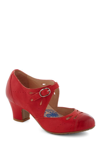 Book Clubbing Heel by Brako - Solid, Eyelet, Vintage Inspired, 20s, Mid, Leather, Red, Work, Daytime Party, Mary Jane, 60s, International Designer