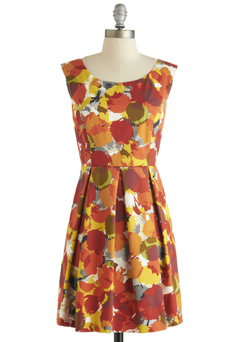 Drupe be Told Dress - Short, Cotton, Orange, Red, Yellow, Grey, White, Print, Pleats, Daytime Party, A-line, Sleeveless, Scoop, Vintage Inspired, 60s, Summer, Fall, Exclusives, Top Rated