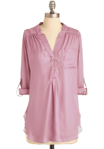 Pam Breeze-ly Tunic in Lilac - Purple, Solid, Buttons, Pockets, Casual, Long Sleeve, Work, Variation, Sheer, Long, Basic, Tab Sleeve
