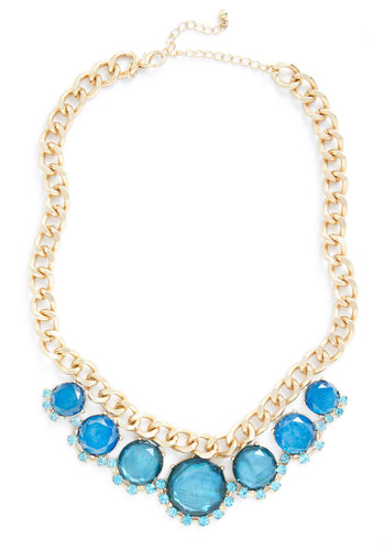 Deep Sea Vibe Necklace - Blue, Gold, Solid, Rhinestones, Statement, Prom, Party, Cocktail, Girls Night Out, 50s, Bridesmaid