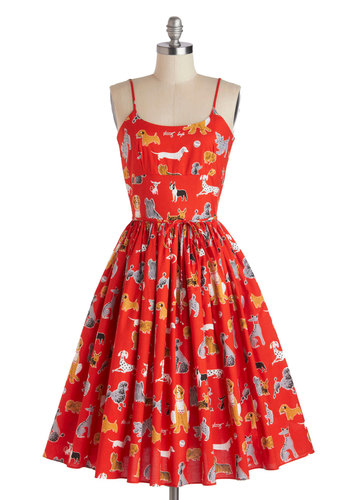 Graceful Greenery Dress in Dog Park by Bernie Dexter - Red, Print with Animals, Casual, Spaghetti Straps, Summer, Long, Cotton, Multi, Pockets, Belted, Fit & Flare, Scoop, Top Rated