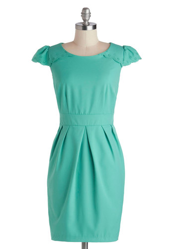 Right Time And Place Setting Dress by Darling - Mid-length, Mint, Solid, Eyelet, Pleats, Scallops, Daytime Party, Sheath / Shift, Cap Sleeves, Scoop, Work