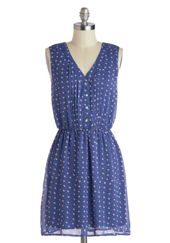 Composed as a Rose Dress - Mid-length, Blue, Multi, Floral, Buttons, Casual, A-line, V Neck, Pink, White, Pleats, Sleeveless