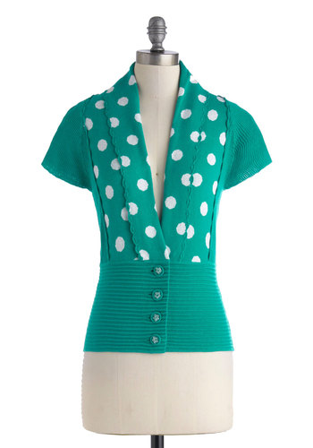 Craft Shop Cardigan - Short, Cotton, Green, White, Polka Dots, Buttons, Knitted, Casual, Vintage Inspired, Short Sleeves, V Neck, Scallops, Work, Daytime Party, 40s, 50s