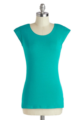 Tanks Very Much Top in Teal - Mid-length, Cotton, Blue, Solid, Casual, Cap Sleeves, Minimal, Variation, Scoop