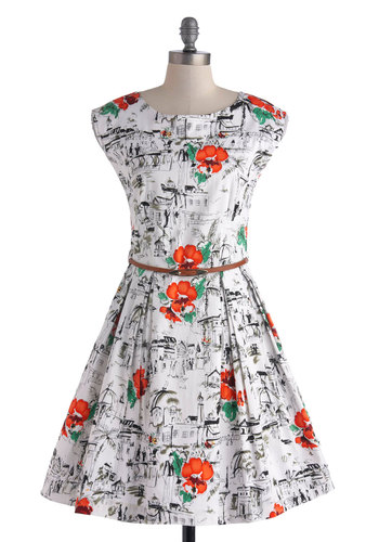 Scenes of the City Dress by Louche - Cotton, Mid-length, Orange, Green, Black, Print, Pleats, Belted, Daytime Party, Fit & Flare, Cap Sleeves, Multi, White, Exposed zipper, Pockets, Vintage Inspired, Spring, Boat