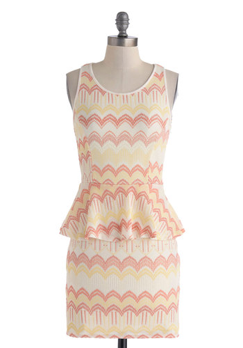 Dinner and a Show Dress - Short, Yellow, Tan / Cream, Chevron, Party, Peplum, Racerback, Scoop, Multi, Pink, Girls Night Out, Vintage Inspired, 80s, Mini, Bodycon / Bandage, Summer