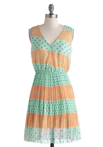 Dot Your Eye Dress - Mid-length, Orange, Purple, Mint, Print, Casual, A-line, Sleeveless, V Neck, Polka Dots, Pleats, Summer
