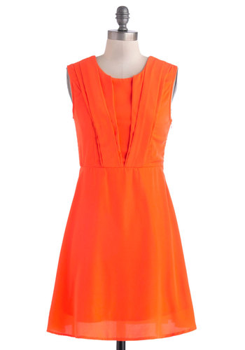 Spin Me Bright Round Dress - Mid-length, Solid, Party, A-line, Sleeveless, Crew, Orange, Pleats, Work, Summer