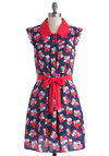 Stop and Smell the Hibiscus Dress by Tulle Clothing - Mid-length, Blue, Multi, Floral, Buttons, Ruffles, Belted, Casual, A-line, Sleeveless, Collared, Spring, Summer