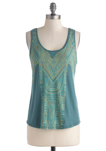 Mosaic the Best of Things Top by Gentle Fawn - Mid-length, Blue, Yellow, Green, Print, Casual, Tank top (2 thick straps), Travel, Summer, Scoop, Jersey