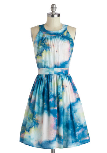 Celestial Get Together Dress - Mid-length, Blue, Multi, Print, Pockets, Party, A-line, Sleeveless, Crew, Summer, Exclusives