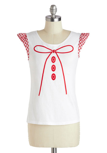 Best in Craft Show Top - Mid-length, Cotton, White, Red, Checkered / Gingham, Casual, Novelty Print, Eco-Friendly, Spring, Summer, Scoop, Short Sleeves