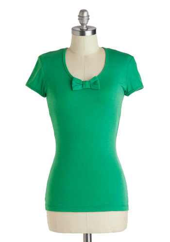 A Little More Pizzazz Top - Mid-length, Green, Solid, Bows, Ruffles, Casual, Short Sleeves, Vintage Inspired, Scoop, Green, Short Sleeve