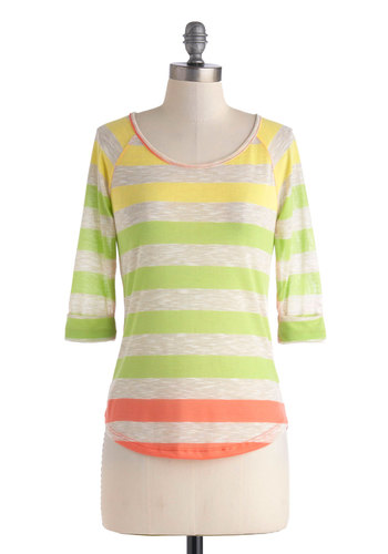 Citrus and Talk Top - Sheer, Mid-length, Multi, Orange, Yellow, Green, Tan / Cream, Stripes, Casual, 3/4 Sleeve, Travel, Scoop