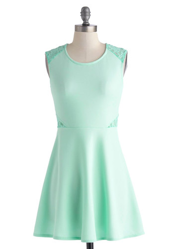 Frills That Thrill Dress - Short, Mint, Solid, Lace, Party, A-line, Sleeveless, Crew, Pastel, Spring