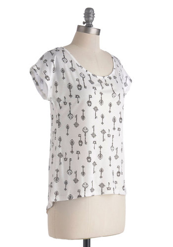 Cuteness Is Key Top - Mid-length, White, Black, Novelty Print, Buttons, Casual, Short Sleeves