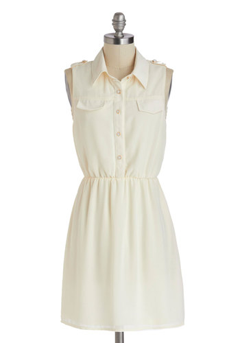 Harbor Lights Dress - Mid-length, Cream, Solid, Buttons, Epaulets, Pockets, Casual, Shirt Dress, Sleeveless, Collared, Summer