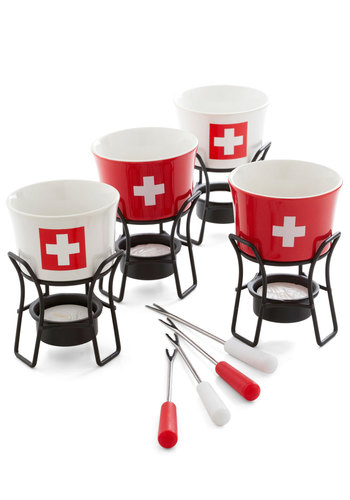 How Swiss It Is Fondue Set - Red, White, Print, Better
