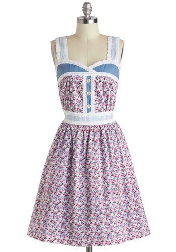 Blue Ribbon Bouquet Dress by Knitted Dove - Floral, Casual, Blue, Multi, Buttons, A-line, Tank top (2 thick straps), Sweetheart, Summer, Cotton, Long, Crochet