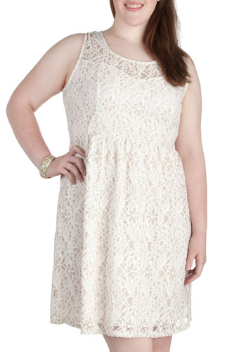 Dainty Dally Dress in Ivory - Plus Size - White, Solid, Lace, Party, A-line, Tank top (2 thick straps), Scoop, Wedding, Bride, Sheer, Daytime Party
