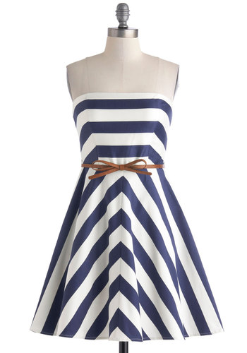 Best for Mast Dress with Brown Belt - White, Stripes, Belted, Casual, Summer, Blue, Bows, Nautical, A-line, Strapless
