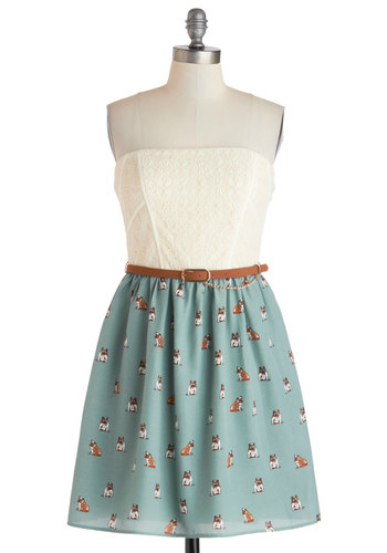 Pup Rally Dress - Multi, Print with Animals, Belted, Casual, Quirky, Summer, Blue, Brown, Tan / Cream, Chain, Lace, Strapless